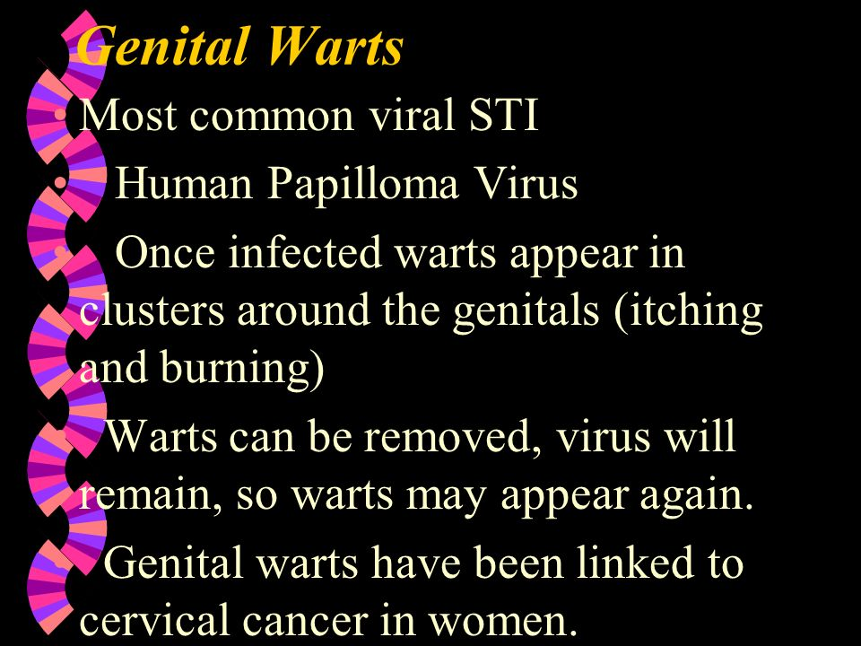 Genital Warts Most common viral STI Human Papilloma Virus