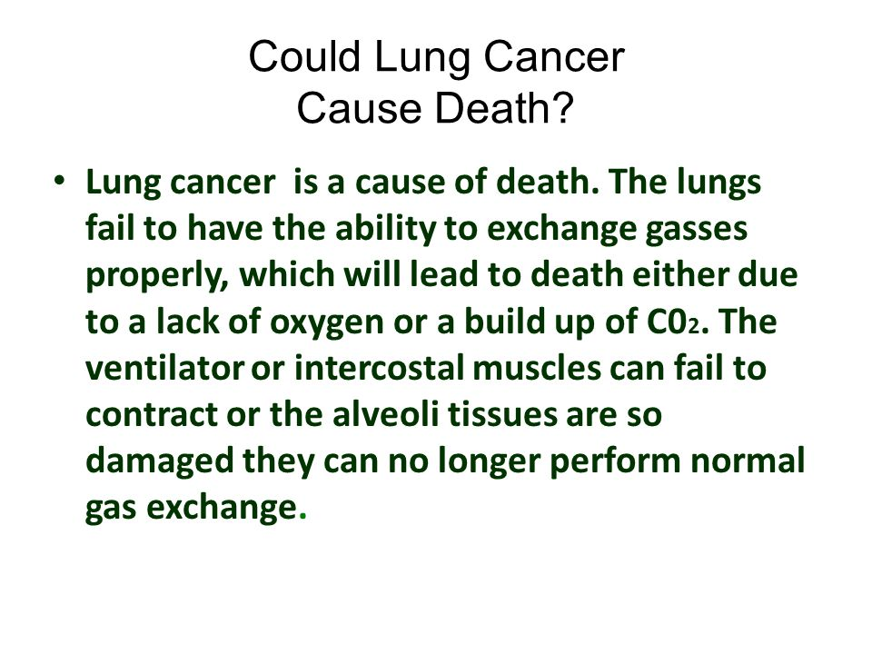 Could Lung Cancer Cause Death