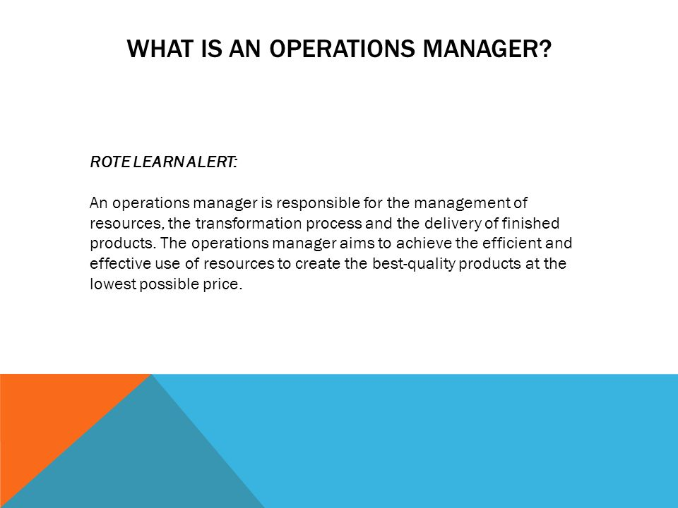 The Role of an Operations Manager
