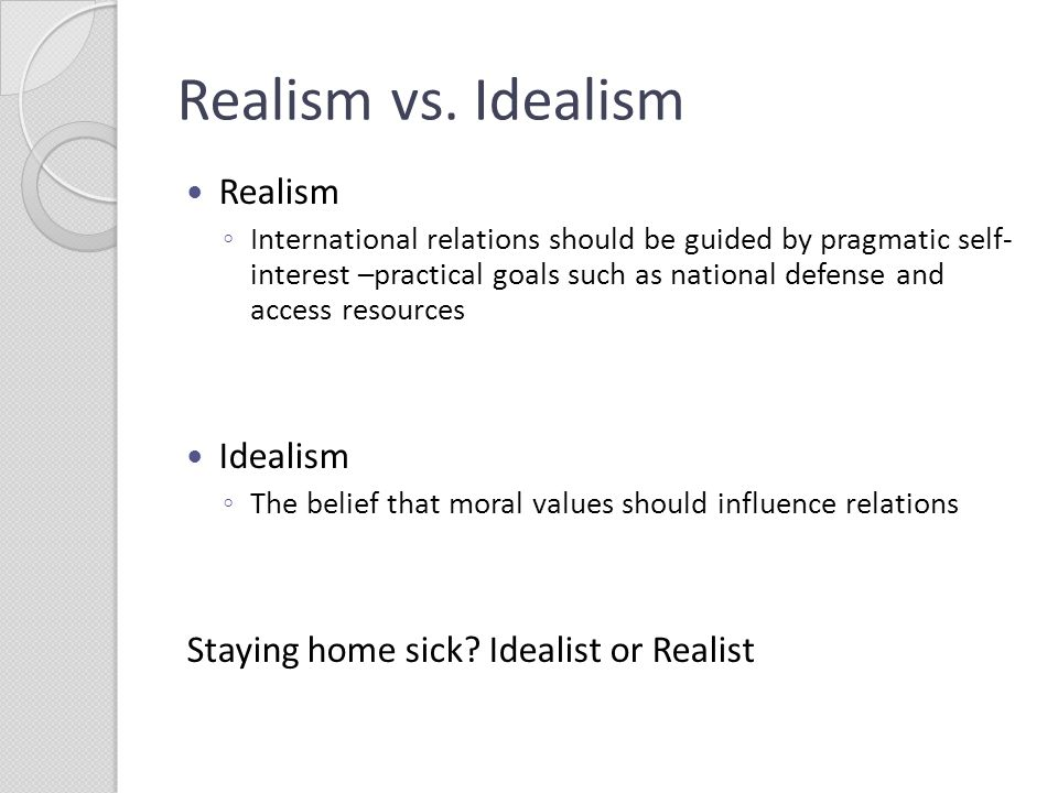 realism vs idealism how american foreign The difference between realists and liberals  more from foreign policy by taboola trending 1 here's how the trump-kim summit could play out 306 shares 2.