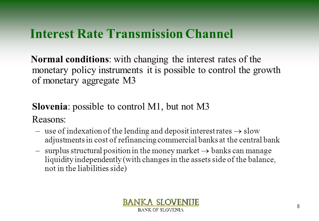 monetary transmission channel How monetary policy works  the process by which monetary policy decisions are transmitted to the real economy is called the monetary policy transmission  the transmission via the exchange rate channel.