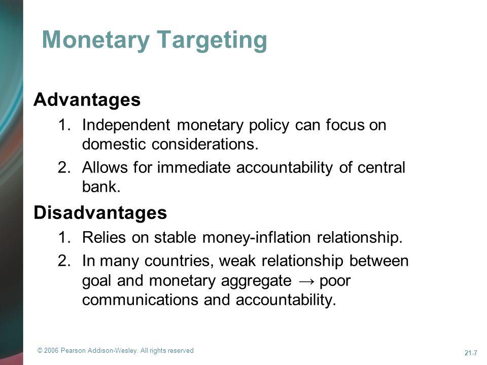 Monetary Targeting Advantages Disadvantages