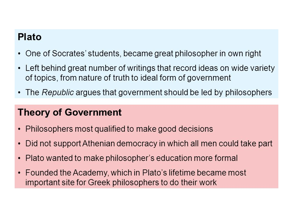 plato and theory on government essay Explain plato's theory of 'forms' plato's theory of the forms can simply be described as metaphysical existences which are found in a different world from the physical world the realm of forms.
