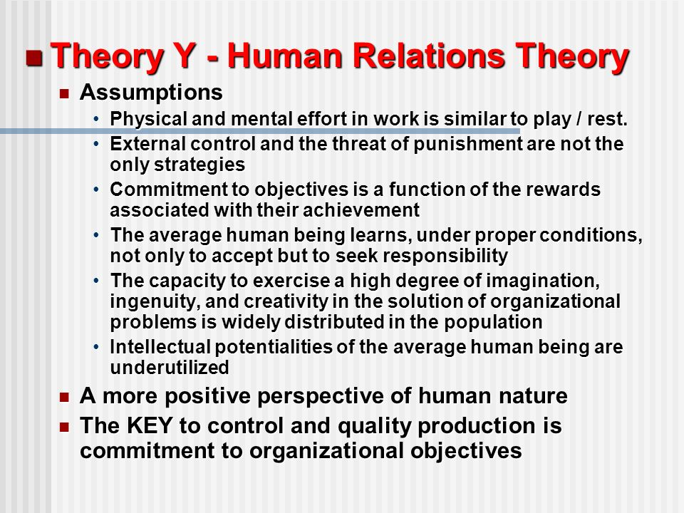 Human Relations Management Theory Basics