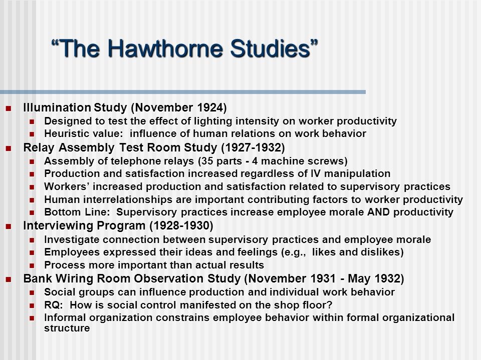 "The ""Hawthorne Effect"""