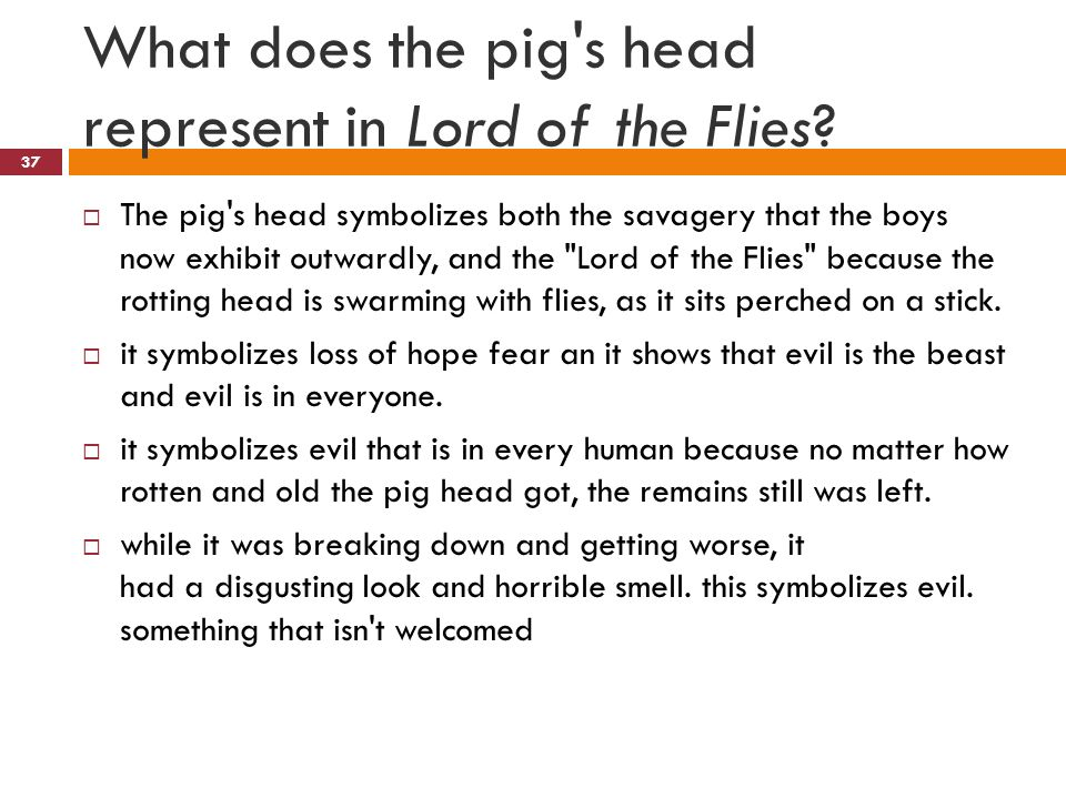 Pig Symbolism In Lord Of The Flies Clipart Library