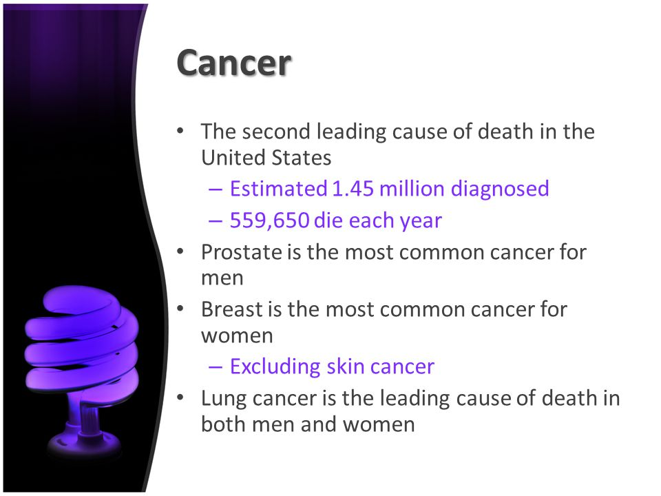 the leading cause of prostate cancer among men Prostate cancer, the most common non-skin cancer among men, is also the second leading cause of cancer death after lung cancer however, when found early, the.