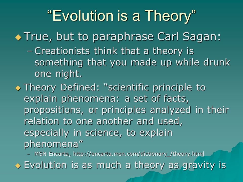 an arguement of how true is evolution theory The big bang and the bible another theory of how the world came to be is through a process starting with a  if the big bang theory is true,  evolution, or just.