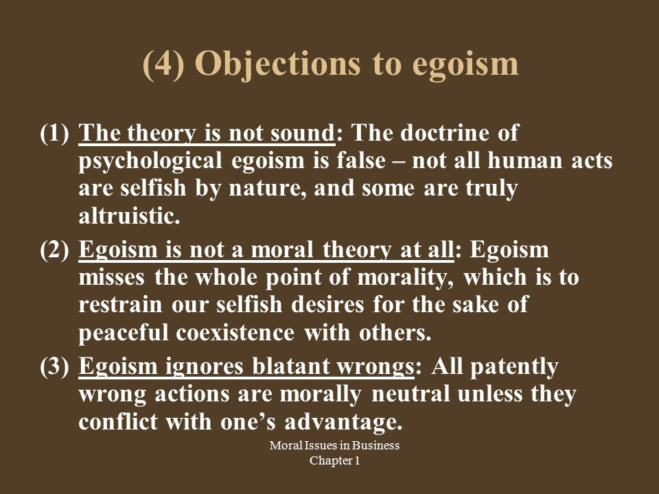 psychological egoism theory essay Ethical and psychological egoism essay 2 pages (500 words) nobody downloaded yet in the theory of ethical egoism.