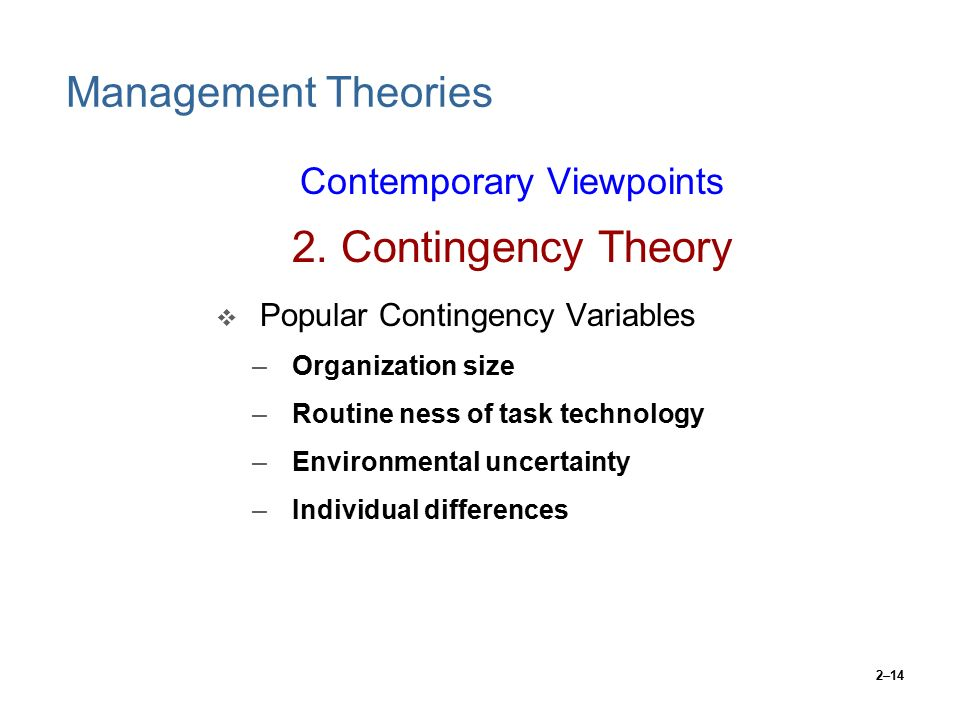 contingency theory of organization pdf