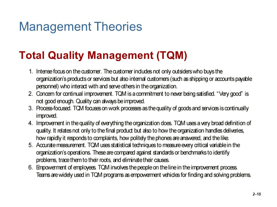total quality management theory An organization adopts the total quality management system in an attempt to  improve quality across the board, spanning all levels of employment the theory  is.