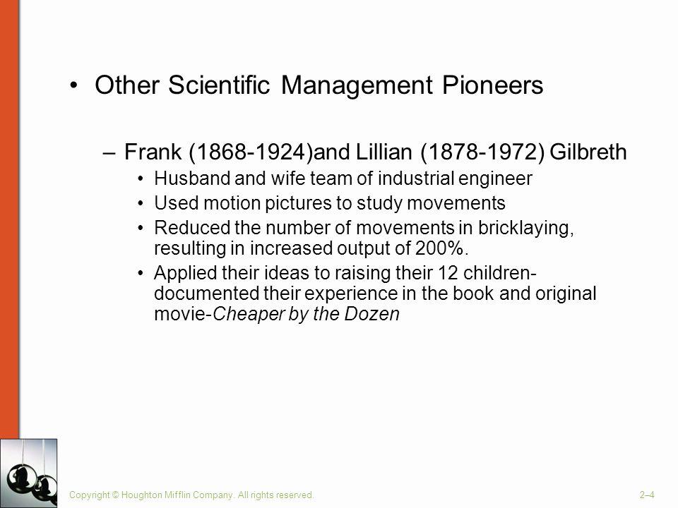 Other Scientific Management Pioneers