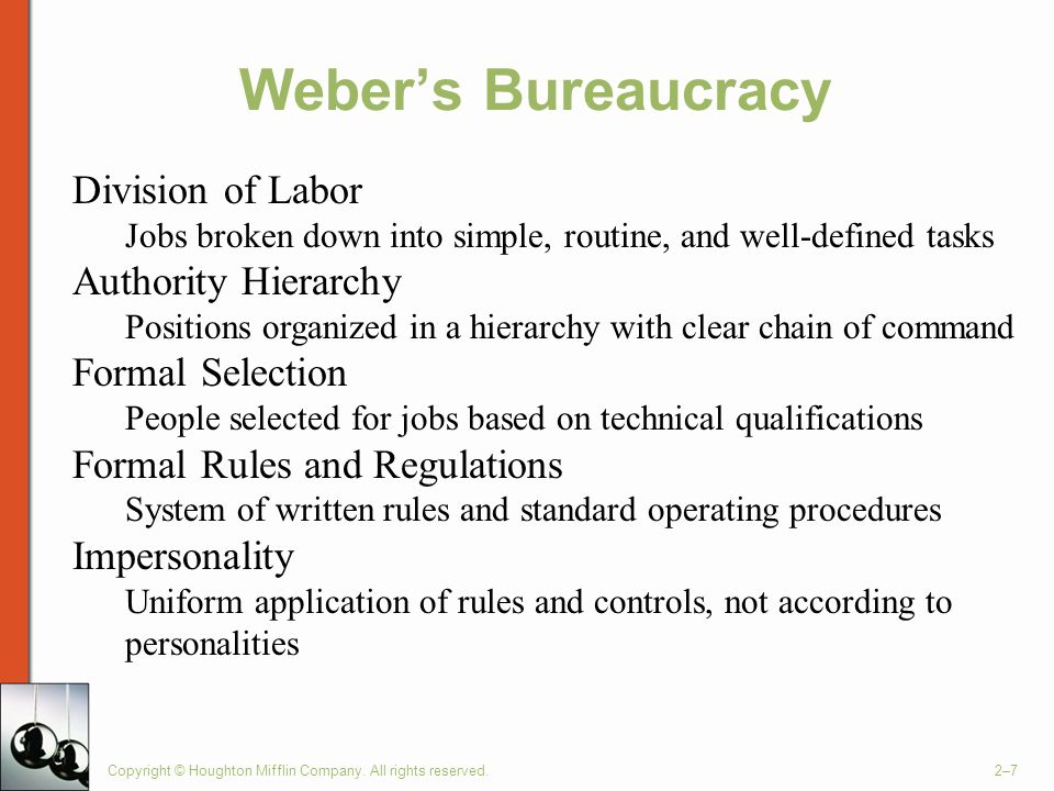 Weber's Bureaucracy Division of Labor Authority Hierarchy