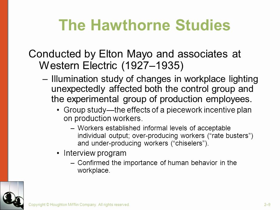 The Hawthorne Studies Conducted by Elton Mayo and associates at Western Electric (1927–1935)
