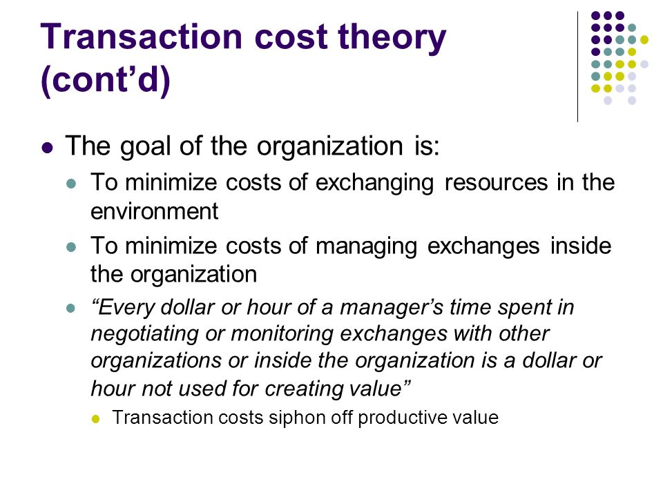 transaction cost theory Monitoring and enforcement costs, and (4) adap-tation and haggling costs (williamson, 1985) the thesis of transaction costs theory is that the.