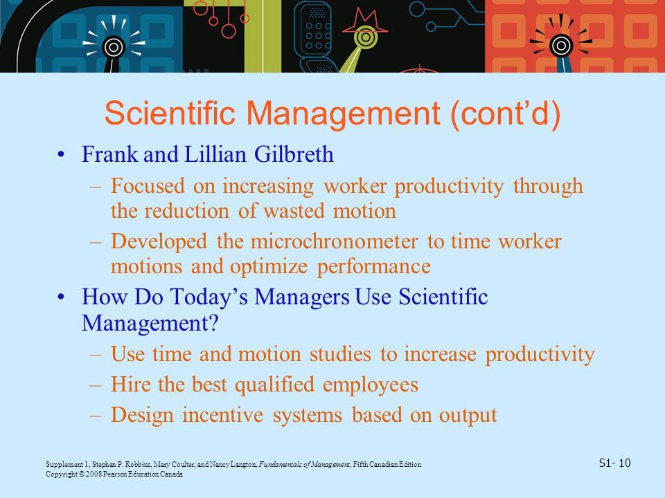 Scientific Management (cont'd)