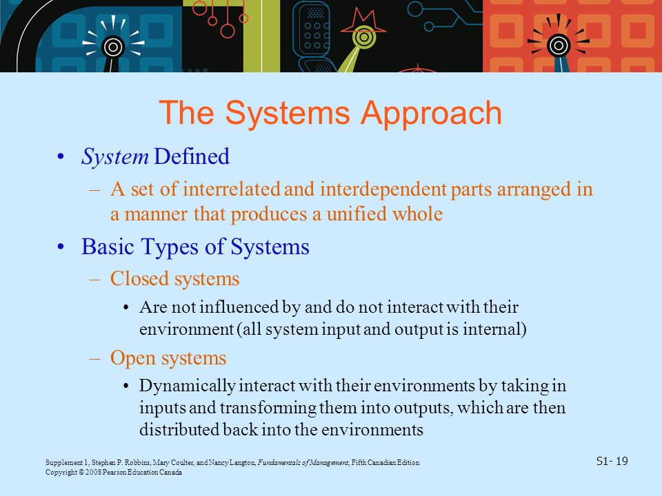 The Systems Approach System Defined Basic Types of Systems