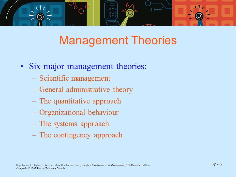 Management Theories Six major management theories: