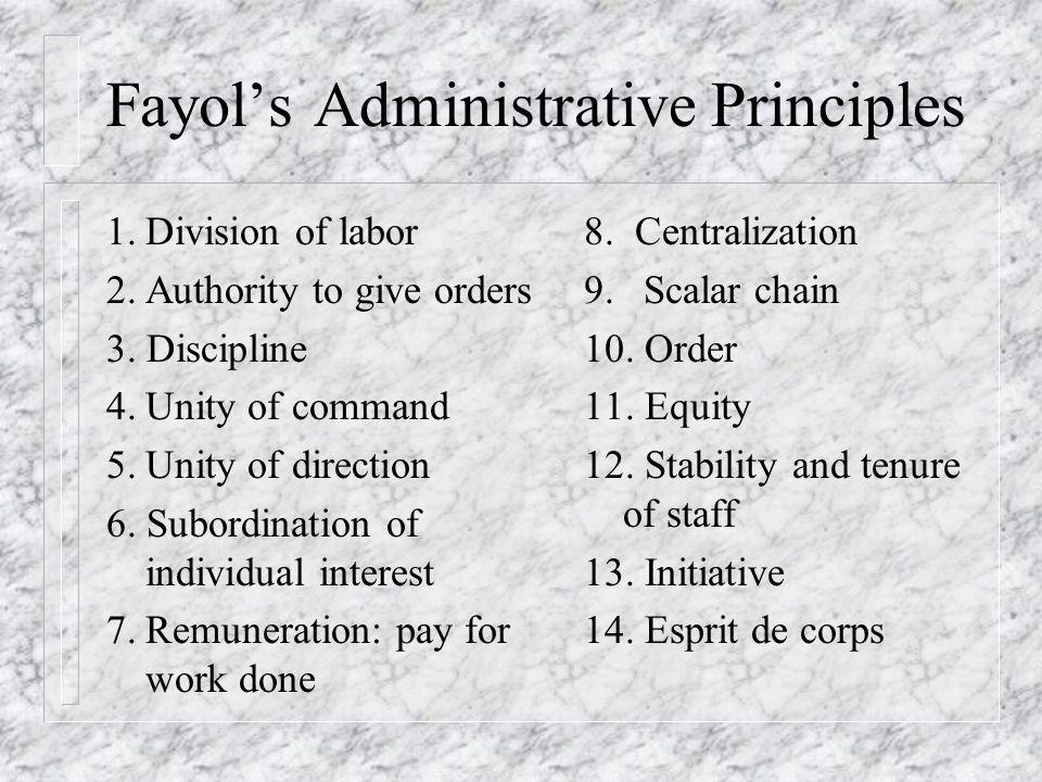 Fayol's Administrative Principles