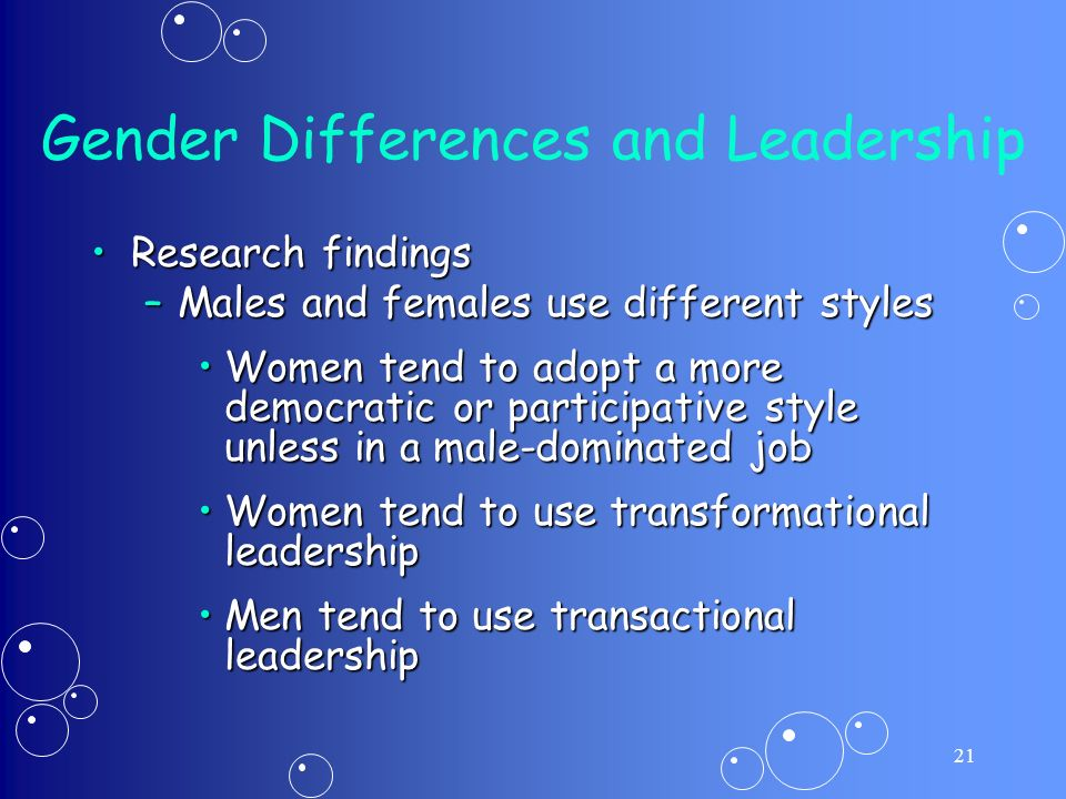 gender differences in leadership styles and management skills Cătălina radu, alecxandrina deaconu and corina frăsineanu (february 1st 2017) leadership and gender differences—are men and women leading in the same way.