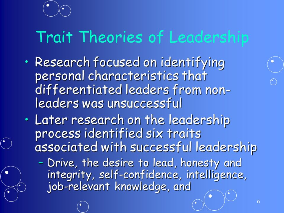 identifying leadership traits The 6 traits of potential future leaders and identifying them in your company  the high potential trait indicator (hpti) for leadership potential is developed .