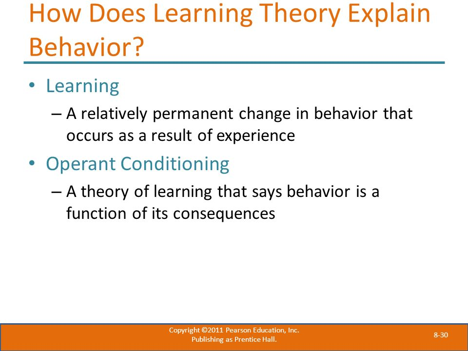 How Does Learning Theory Explain Behavior