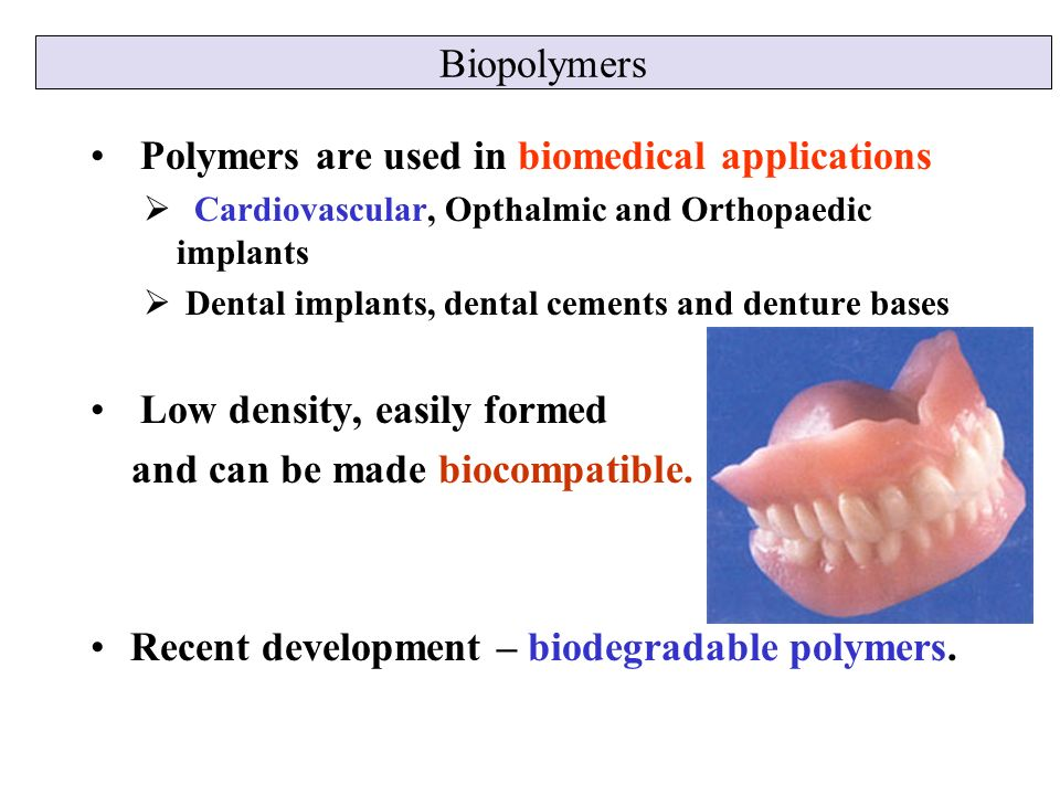 polymers and plastics in biomedical applications Polymers represent the largest and versatile class of biomaterials being extensively applied in multitude of biomedical applications this versatility is attributed to the relative ease with which polymers can be designed and prepared with a wide variety of structures and appropriate physical, chemical, surface and biomimetic properties.