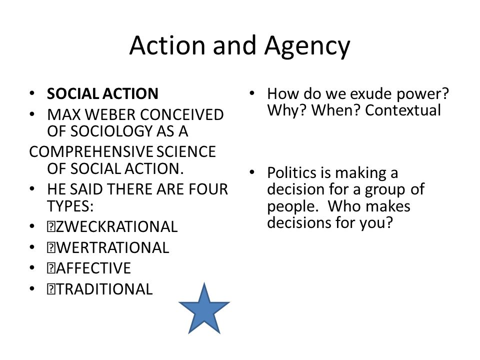 the theories of max weber on social action authority and ideal types Therefore, researchers make a reasonable explanation about social fact though changing the role the subjective motives of others' social action but the study method of weber and durkheim's theory still has something in common in a sense, weber thought methods in social science research should establish the ideal type (shils& finch, 1997.