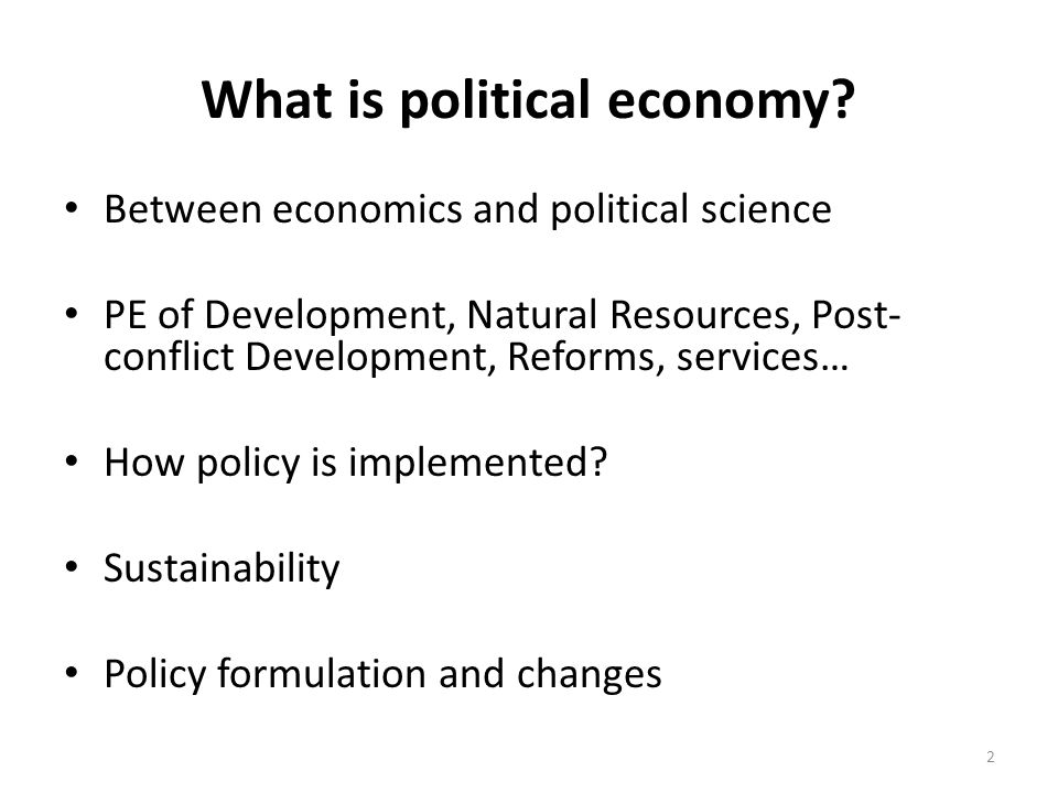 What is political economy