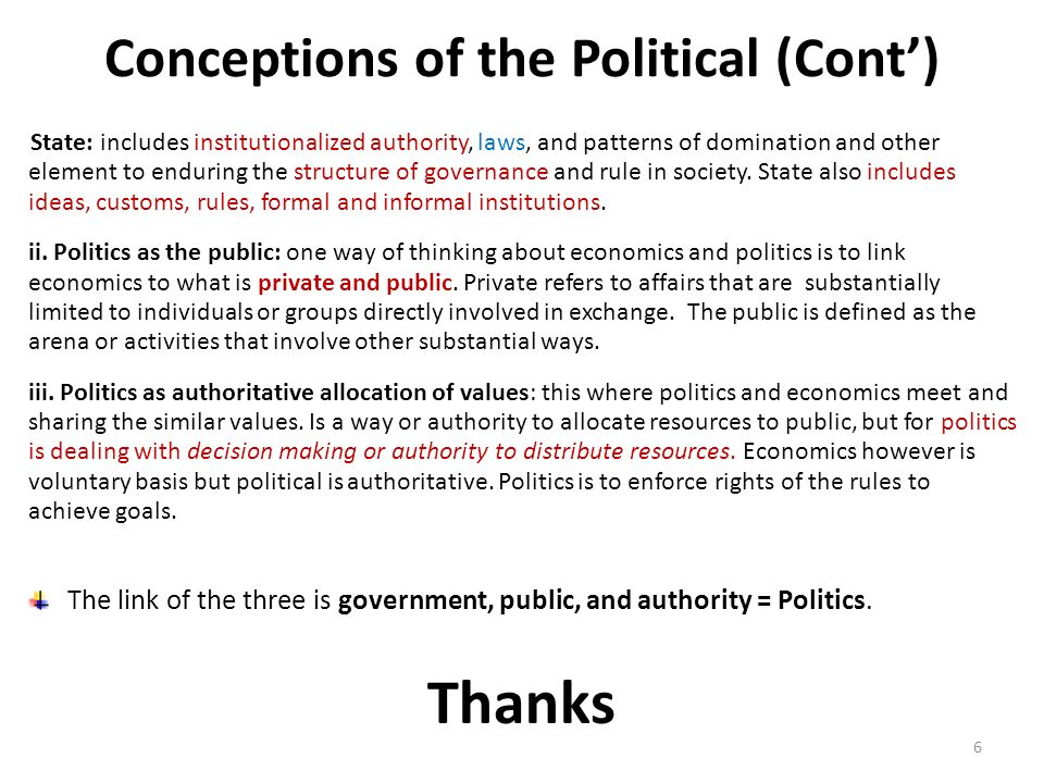 Conceptions of the Political (Cont')
