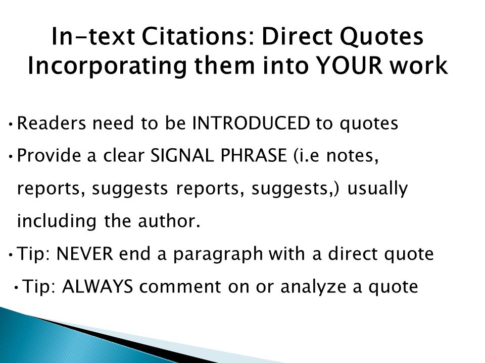 incorporating quotations into a research paper This page will offer extensive guidelines to the process of writing a research paper, ranging introduction i a incorporating quotations into your paper.