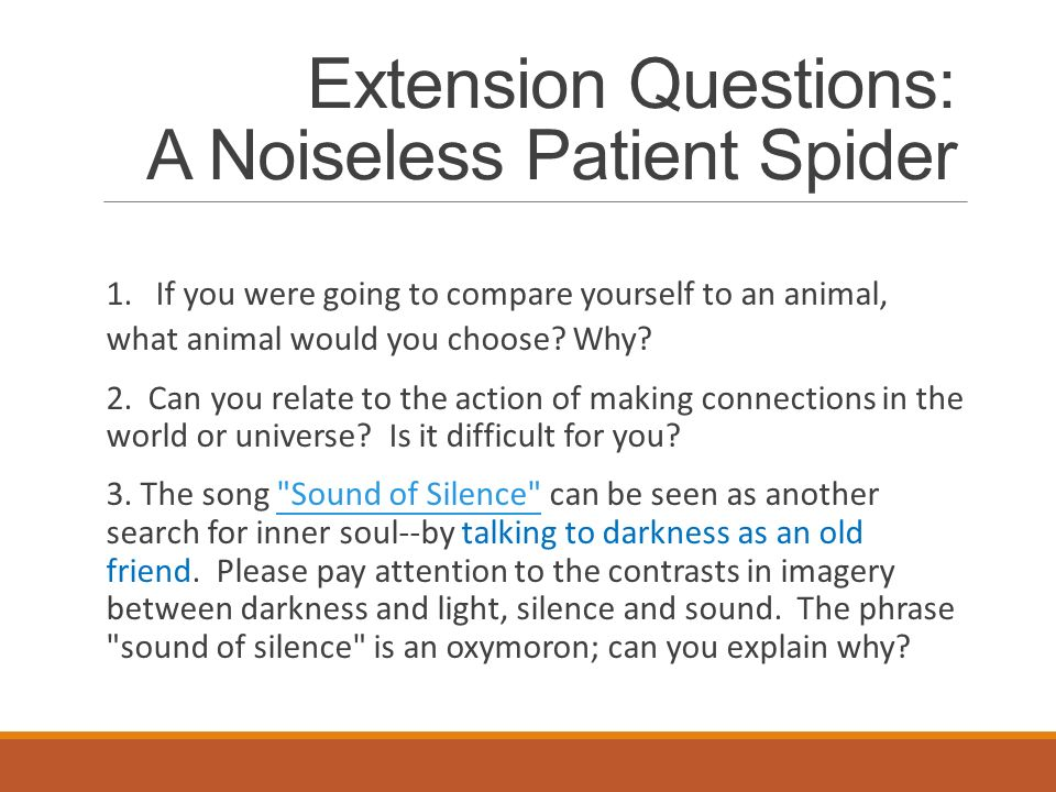 noiseless patient spider essay Essay on a noiseless patient spider click to continue the essays selected here come in three packages reviews find in jstor 2008 foundations of.
