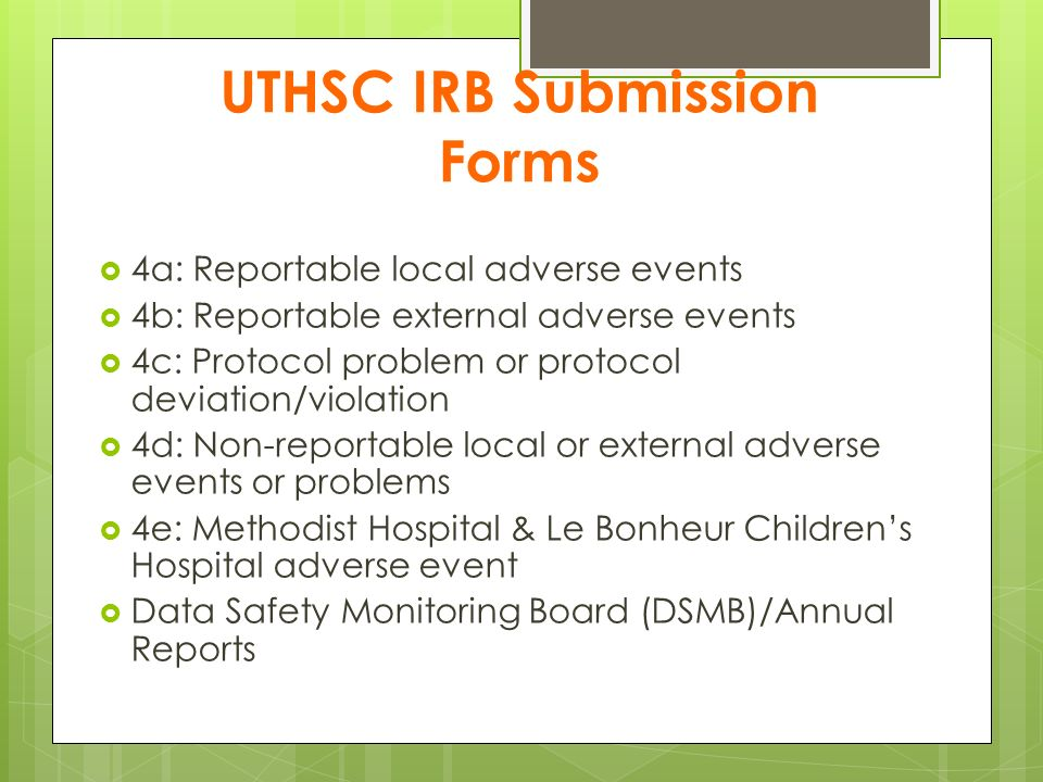 UTHSC IRB Submission Forms