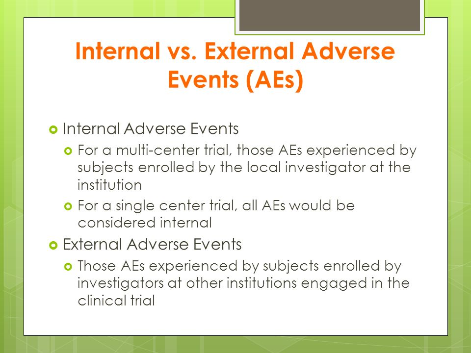 Internal vs. External Adverse Events (AEs)