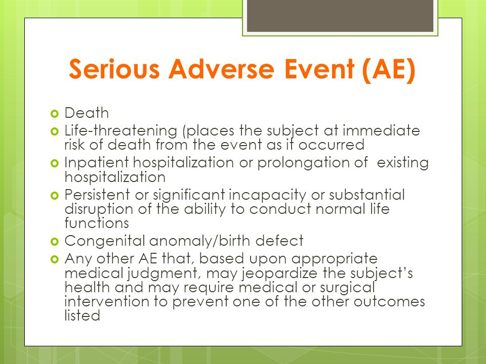Serious Adverse Event (AE)