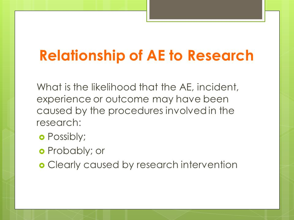 Relationship of AE to Research