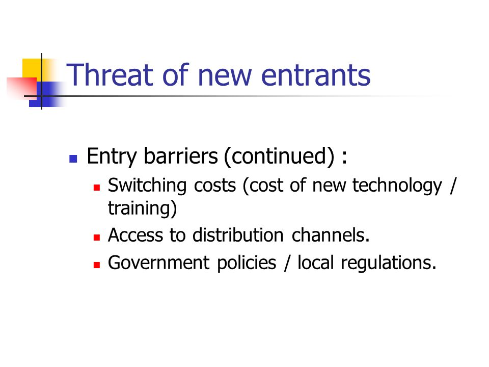 threat of new entrants Threat of new entrants • new entrants mean downward pressure on prices and reduced profitability • barriers to entry determine the extent of threat of new industry.