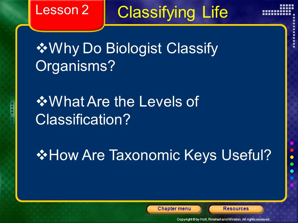 Classifying Life Why Do Biologist Classify Organisms
