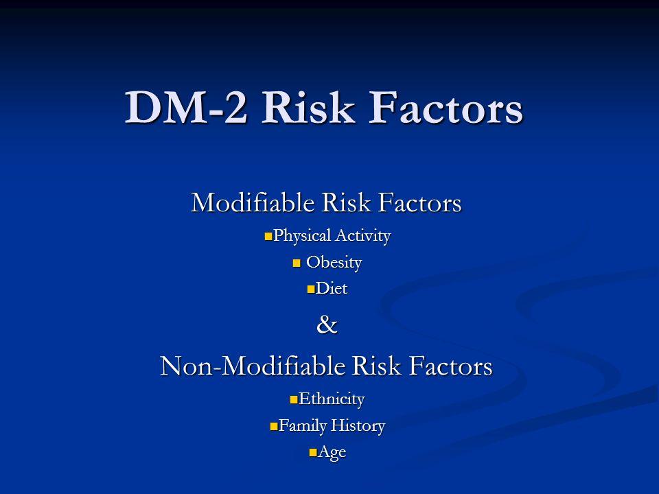 DM-2 Risk Factors Modifiable Risk Factors &