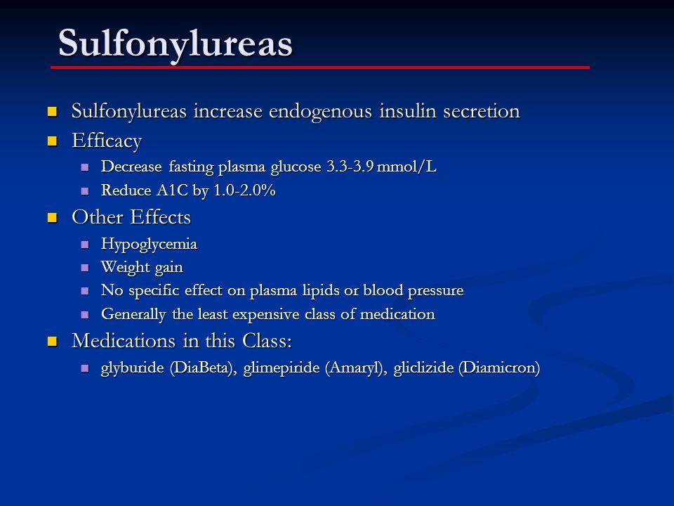 Sulfonylureas Sulfonylureas increase endogenous insulin secretion