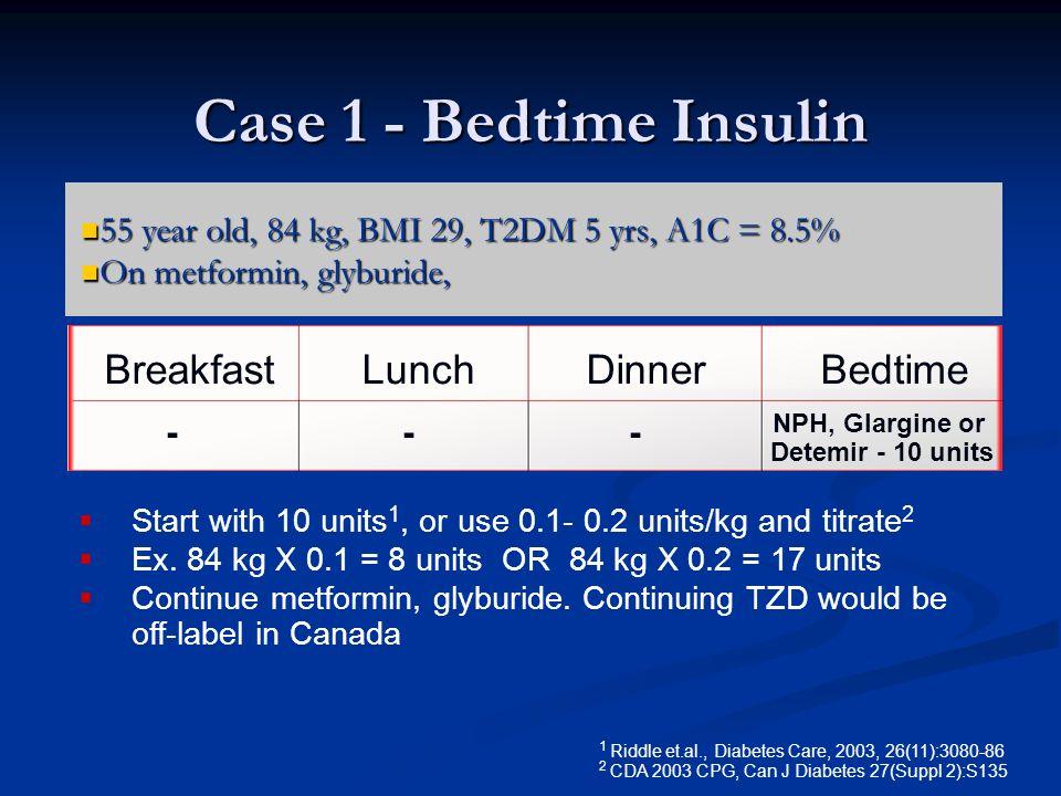 Case 1 - Bedtime Insulin Breakfast Lunch Dinner Bedtime
