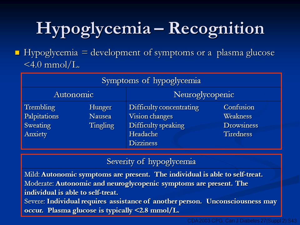 Hypoglycemia – Recognition