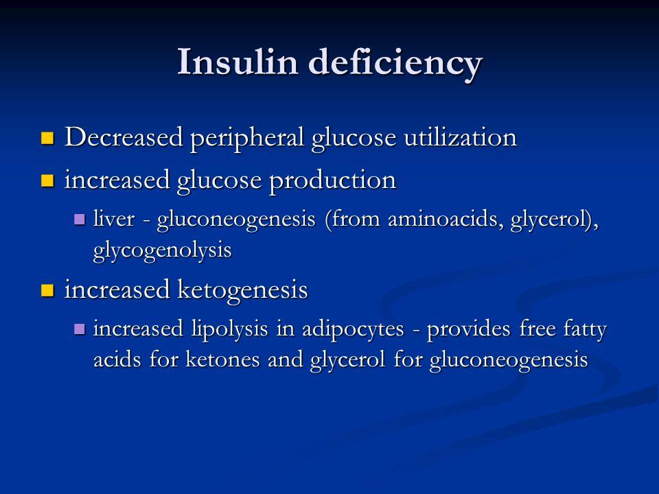 Insulin deficiency Decreased peripheral glucose utilization