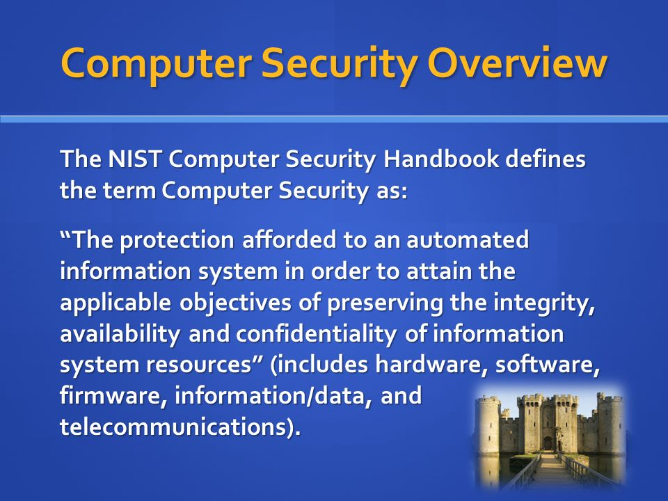 overview of computer security Because of the continuing importance of computer security, the report is being reissued at this time for wider distribution  an overview of the threat points is .