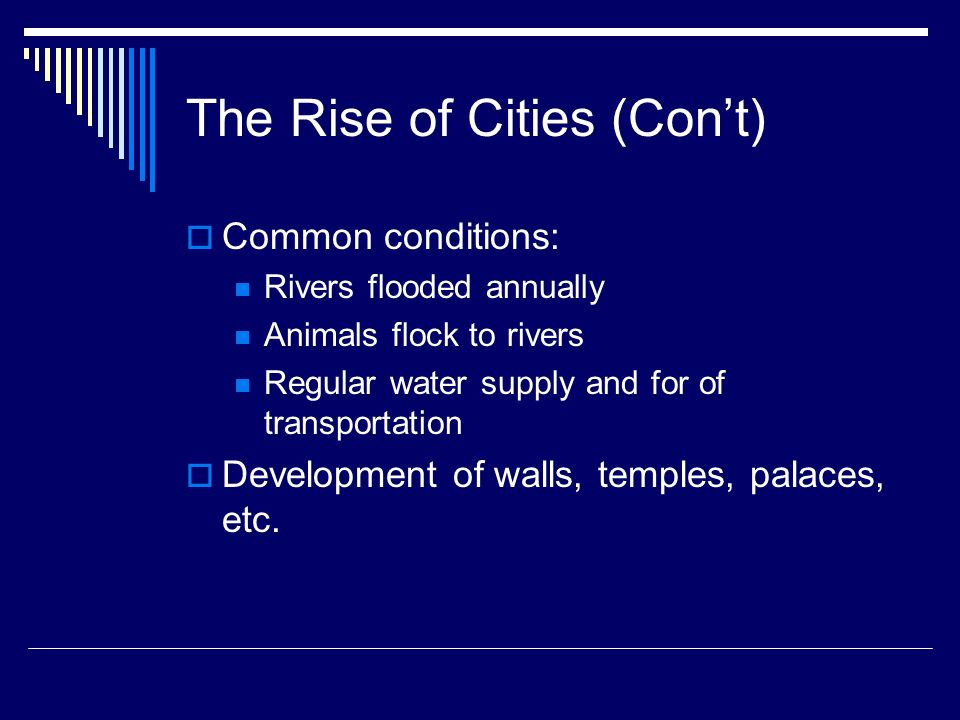 The Rise of Cities (Con't)