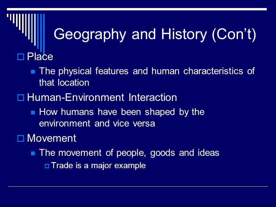 Geography and History (Con't)