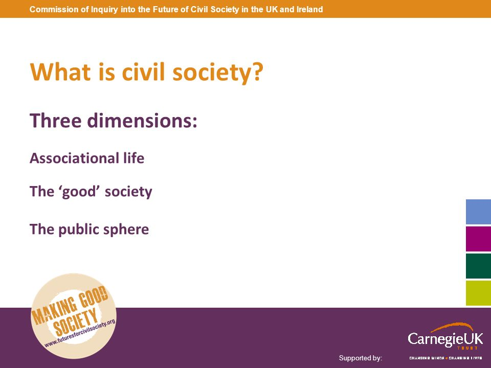 What is civil society Three dimensions: Associational life