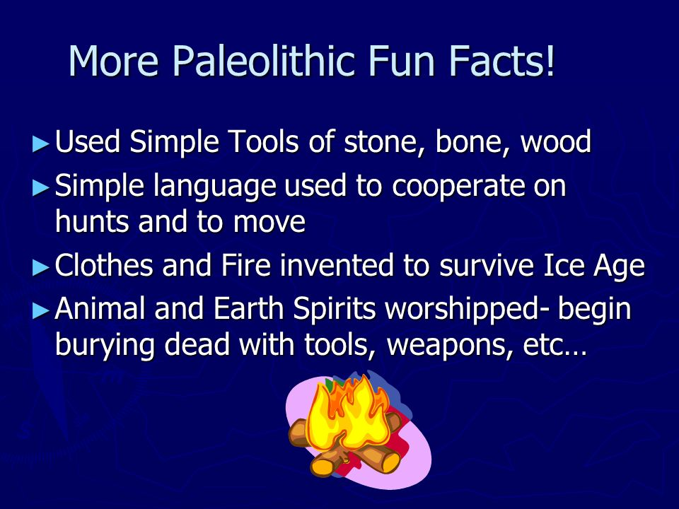 information on paleolithic age Paleolithic or old stone age: from the first production of stone artefacts, about 25 million years ago, to the end of the last ice age, about 9,600 bce this is the .