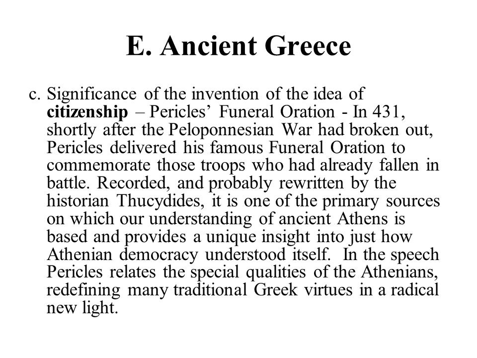 An analysis of pericles funeral oration from the history of the peloponnesian war