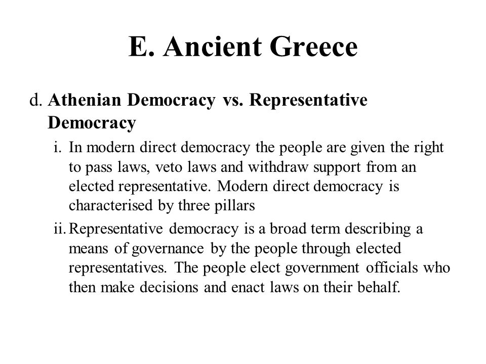 athenian democracy vs modern democracy Free athenian democracy papers, essays,  the importance of athenian influence on modern western society  athens vs sparta essay - greece is a.